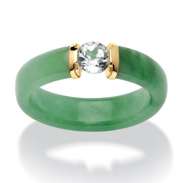 Angelina D'Andrea 10k Yellow Gold White Topaz and Jade Ring