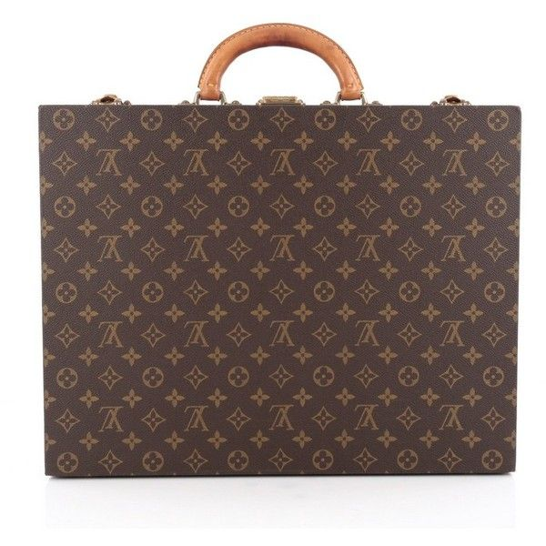 Pre-Owned Louis Vuitton President Classeur Briefcase Monogram Canvas ($1,635) ❤ liked on Polyvore featuring bags, briefcases and brown