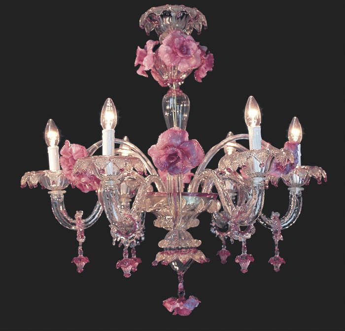 for the perfect girly bedroom a handmade murano glass chandelier with pretty pink flowers http