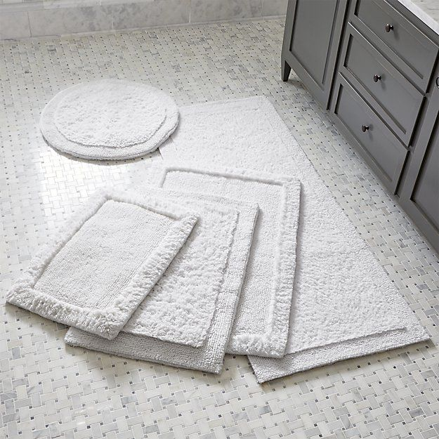 Ultra Spa White Bath Rugs | Crate and Barrel
