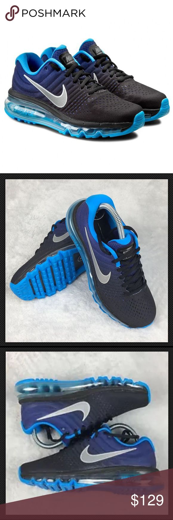 Nike Air Max 2017 Shoes Running Youth or Women NEW Size: 6.5, Youth (also can fit Womens size 8.5)  Color: Black, Blue  Condition: New without Box, 100% Authentic  We reserve the right to change shipping carriers and types as needed. Nike Shoes Sneakers