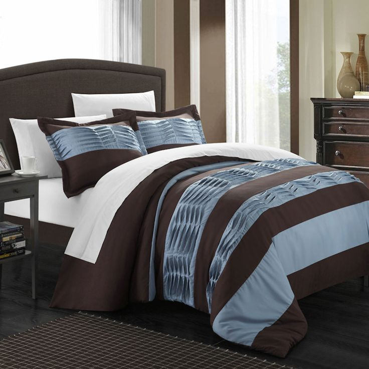 Chic Home - 3-Piece Park Lane Queen Duvet Set in Blue