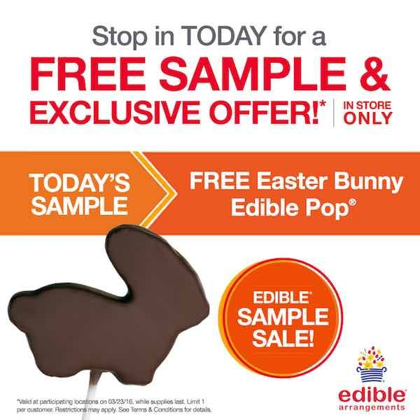 Give that special someone in your life a little something extra today! Get a FREE Easter Bunny Pop!Just head over the the nearest Edible Arrangements location and mention this offer! It's that easy!