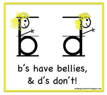 b's have bellies and d's have... :)