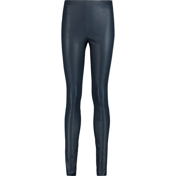 By Malene Birger Elenasoo leather leggings (€340) ❤ liked on Polyvore featuring pants, leggings, storm blue, leather pants, high-waisted leather pants, high-waisted leggings, stretch waist pants and stretch leather leggings