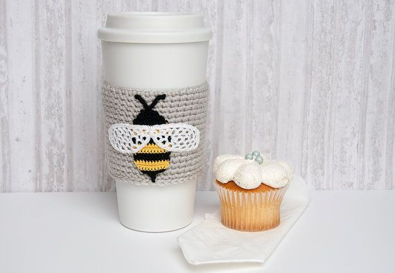 Busy Bumblebee, cup cozy, coffee sleeve, crochet bee applique, linen colored sleeve, black and yellow bee, white wings, beehive escapee on Etsy, $20.00