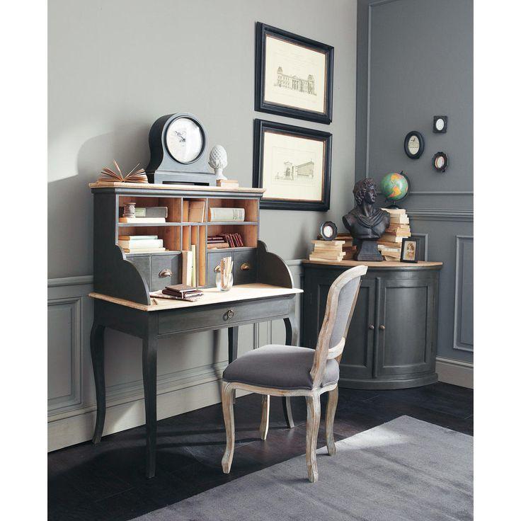 Scrivania secrétaire nera in legno L 102 cm Chenonceau | Maisons du Monde