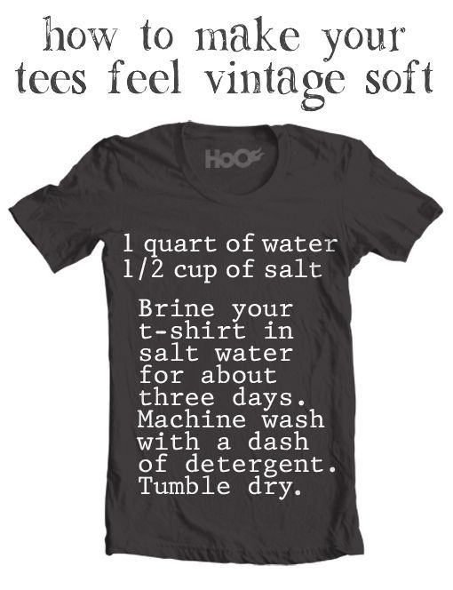 Soften your t-shirts with a salt brine bath for 3 days. 1 qt of water, 1/2 cup of salt.
