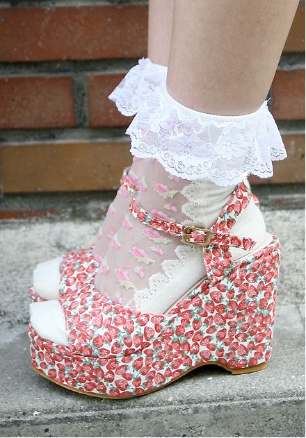 White lace socks and strawberry wedge heels  #styleicon #modcloth