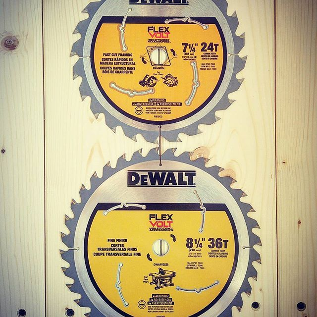 """Dewalt Flexvolt blades! (hint)  they don't just fit on dewalt tools.... I picked up the 8 1/4""""  36 tooth blade for my Flexvolt table saw on Amazon on sale. The 24 tooth blade impressed me so I know the 36 tooth will be epic! These thin kerf blades are designed to cut efficiently and use less battery life. Who else likes these blades? #dewalt #dewalttough #yellow #tools #tool #dewaltcanada #powertools #cordlesstablesaw #brushless #besttools #woodworking #construction #diy #outside #canada…"""