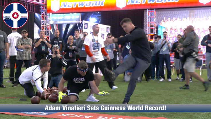 Watch as Adam Vinatieri sets the Guinness World Record for field goals in a minute!