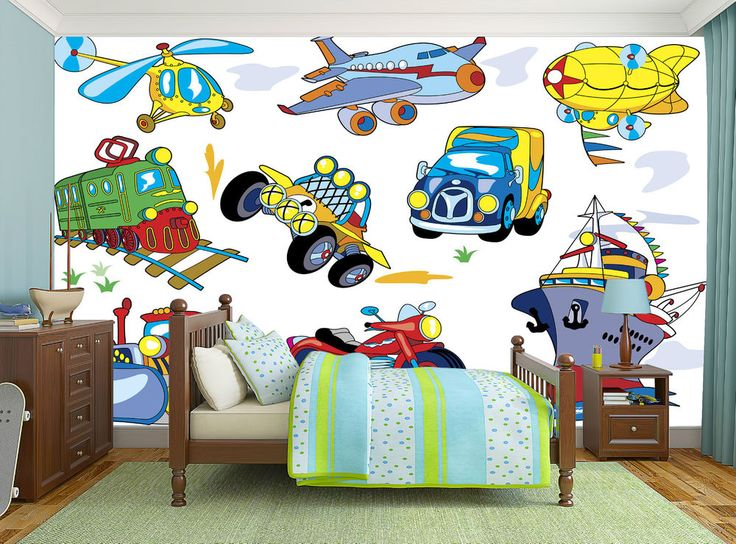 Cartoon Transport Set Cars Ship Flight Mural Photo Wallpaper Boys WALL DECOR | eBay
