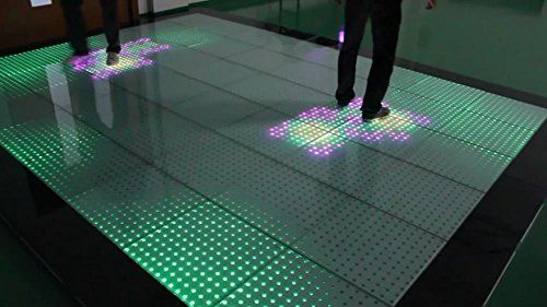 Tempered Glass Panel Interactive Led Dance Floor For Stage Nightclub Wedding Ktv And Disco Etc Stage Dance Floor With 16 Sensors Panel 8 Pcs Pack Led Dance Flooring Glass Panels