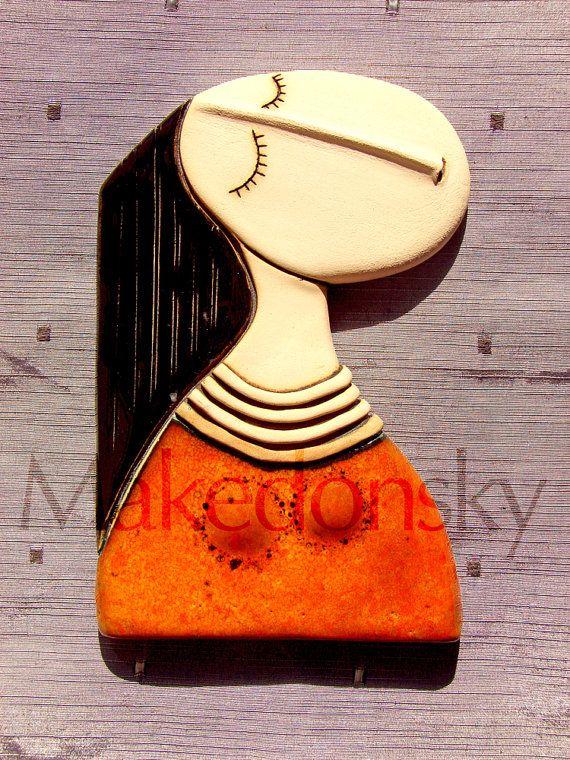 Girl with orange dress Original handmade by MakedonskaCeramicArt