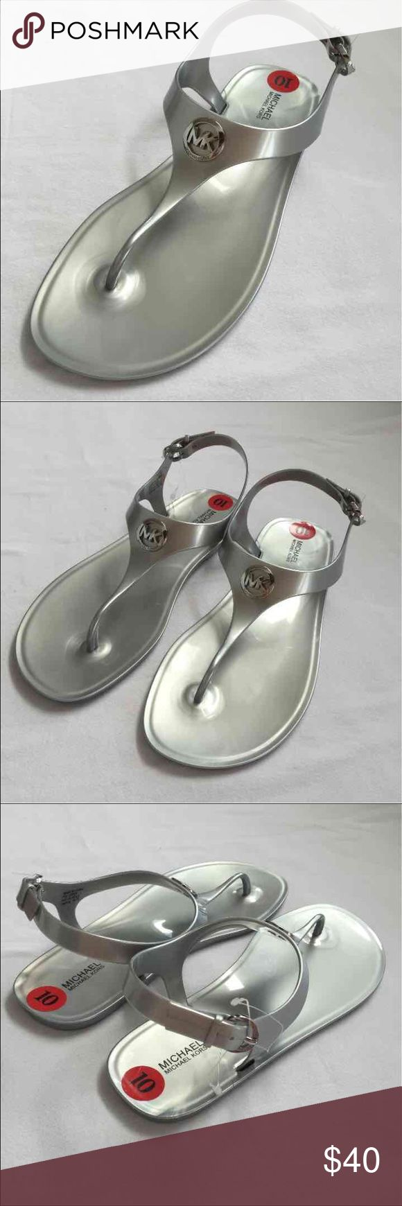 Women's jelly sandals size 10 - Michael Kors Gray Silver Flat Sandals Size 10 Tong New Without Tags Michael Kors Brand Flat