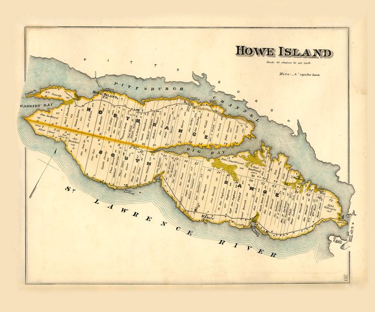 Antique map of Howe Island, c. 1880
