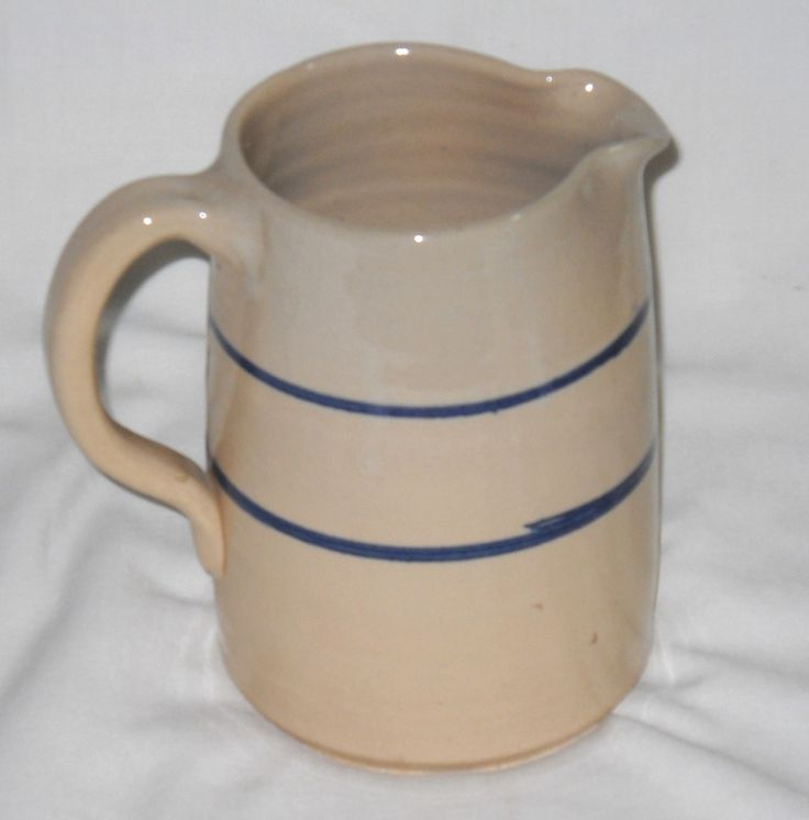 1 5 Qt Stoneware Crock Pitcher With Blue Bands Vintage