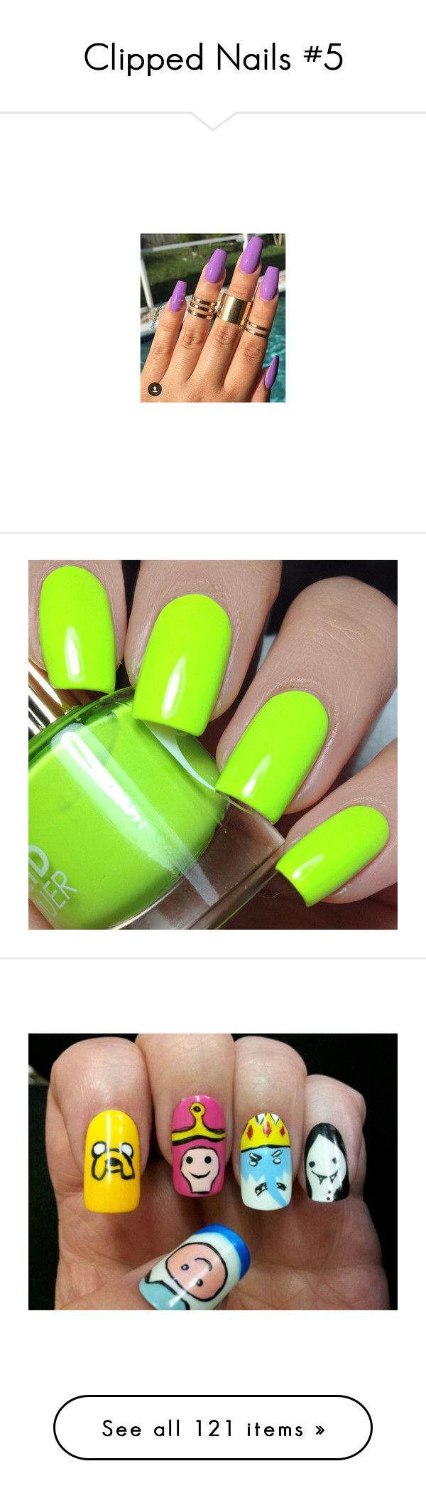 """Clipped Nails #5"" by aniahrhichkhidd ❤ liked on Polyvore featuring beauty products, nail care, nail polish, nails, makeup, neon nail polish, fluorescent nail polish, lime green nail polish, nail treatments and hair"