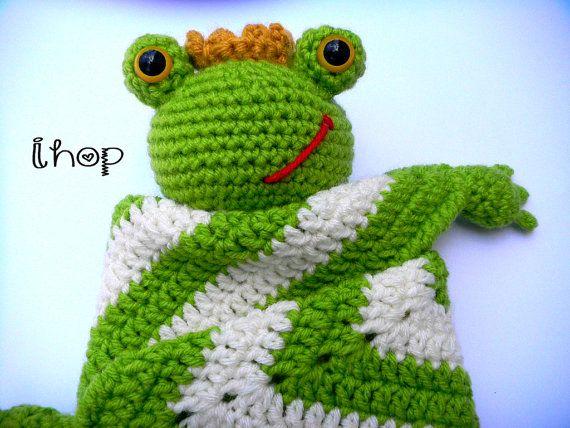 Frog baby blanket frog lovey security blanket baby by LoveMyLoveys
