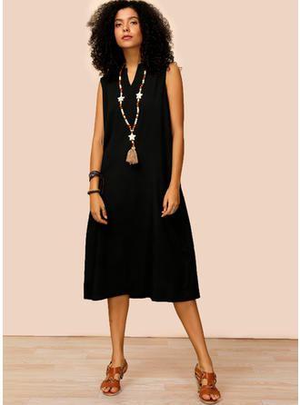Couleur Unie Sans Manches Droite Midi Petites Robes Noires/Décontractée Robes (199268389) 2