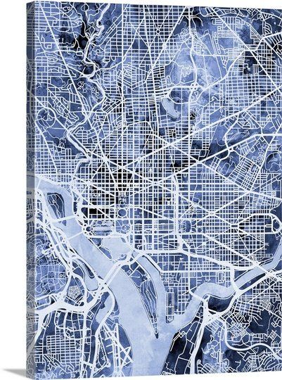 Contemporary watercolor city street map of Washington DC.