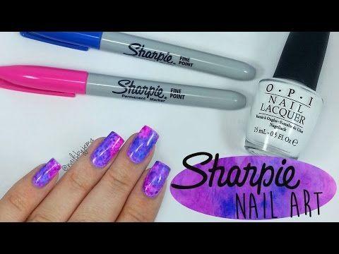 Sharpie Watercolour Nail Art - YouTube