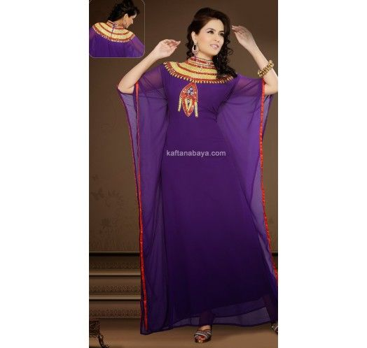Deep Purple Faux Georgette Traditional #Kaftan