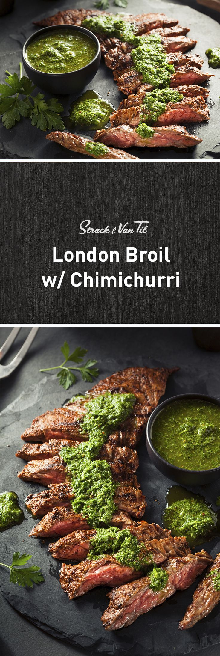 Dinner tonight—London Broil with Chimichurri Sauce!