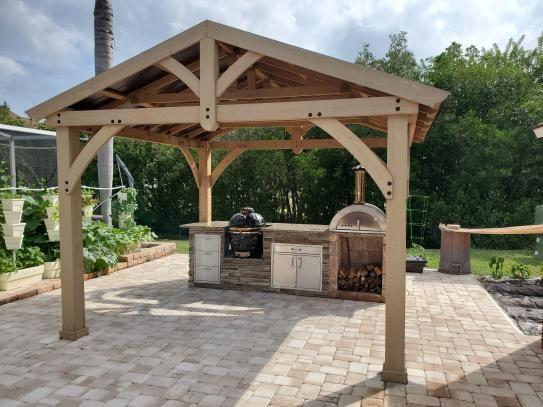Yardistry 13 ft. x 11 ft. Cedar Carolina Pavilion YM11726 ... on Yardistry Backyard Pavilion id=78051