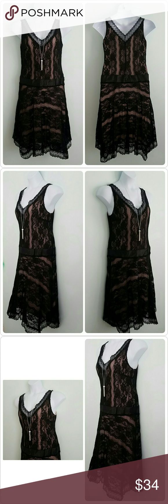 🆕Romantic Black Beauty Lace Petite Party Dress Brand: Believe Petite  Size: 10P Condition: Excellent preloved, no issues Color: Black Lined: Yes with light rose color lining Sleeve Style: Sleeveless  Occasion: Party or Special Occasion  Dress Length: Knee or below  Material: 92% Nylon and 8% Spandex  Machine Washable: Handwash  Zipper: Side zipper closure  Bust: 17 Waist: 18 Hips: 22 Length: 43 Special features: Beautiful romantic lace style  Please let me know if you have any questions…