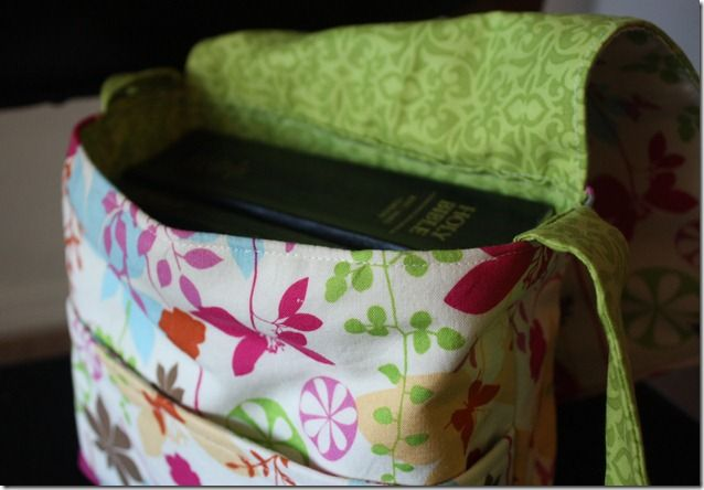 messenger bag scripture tote....I like the front pocket in front.