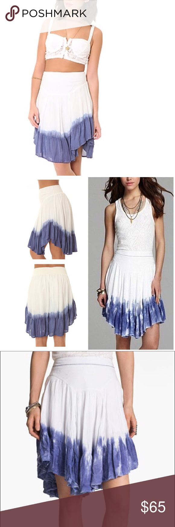 FREE PEOPLE Dip Dye Navy Ombré Skirt NEW XS FREE PEOPLE Dip Dye Navy White Ombré Skirt NEW SZ XS WOW!  MSRP $88 SOLD OUT! • Beautiful Asymmetrical Dip Dye Skirt with character for the bohemian you from the bohemian me! • Material is like soft gauzy textured cotton light and float Free People Skirts Midi