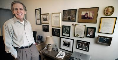 Kevin Talley poses with some of his political memorabilia dating back to the Watergate era. Then a press aide to Sen. Hugh Scott, R-Pa., Talley said the scandal made everyone leery about talking on the phones or writing things down. (DAILY RECORD/SUNDAY NEWS - PAUL KUEHNEL)