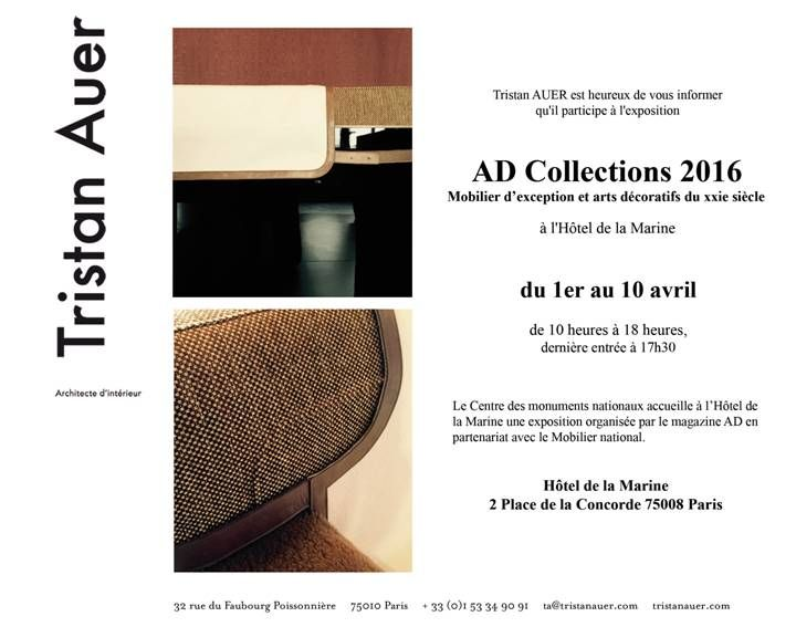 Une de mes pièces en Raku habille une création de Tristan Auer durant l'exposition AD Collections à l'Hôtel de la Marine, place de la Concorde à Paris...