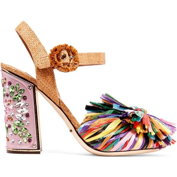 DOLCE & GABBANA   Crystal-embellished raffia sandals ($1,315) ❤ liked on Polyvore featuring shoes, sandals, multi color high heel sandals, multi coloured sandals, strap high heel sandals, strappy high heel shoes and colorful sandals