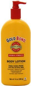 Gold Bond Medicated Body Lotion, 14-Ounce Pump Bottle by Gold Bond. $6.97. Triple Action Gold Bond Lotion is medicated to provide prompt, effective itch relief. For the temporary relief of itching associated with dry skin. Clinically proven to moisturize, soothe and protect for hours. Triple Action Relief; Moisturizing, Itch Relief, Soothing