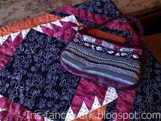 My Fancywork Blog: Вязаная на спицах сумочка с вышивкой лентами и кож...