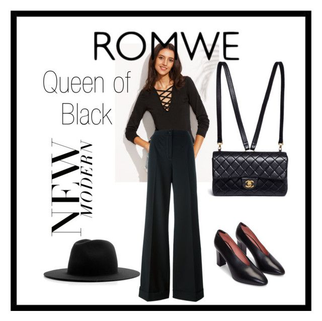 """""""ROMWE Queen of Black"""" by eveliine-ursu on Polyvore featuring Dolce&Gabbana, Chanel and Études"""