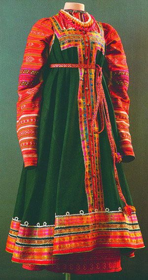 Traditional Russian dress, the Sarafan. Bell like skirt with many little gores for fullness from waist.