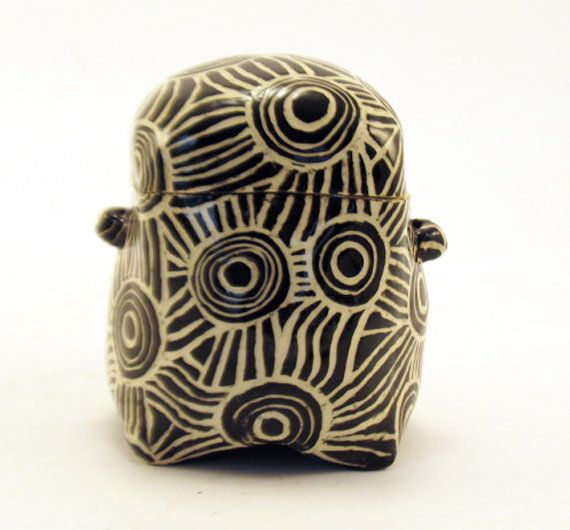 Hand Built SGRAFFITO Lidded BOX Black & White by TheClayBungalow