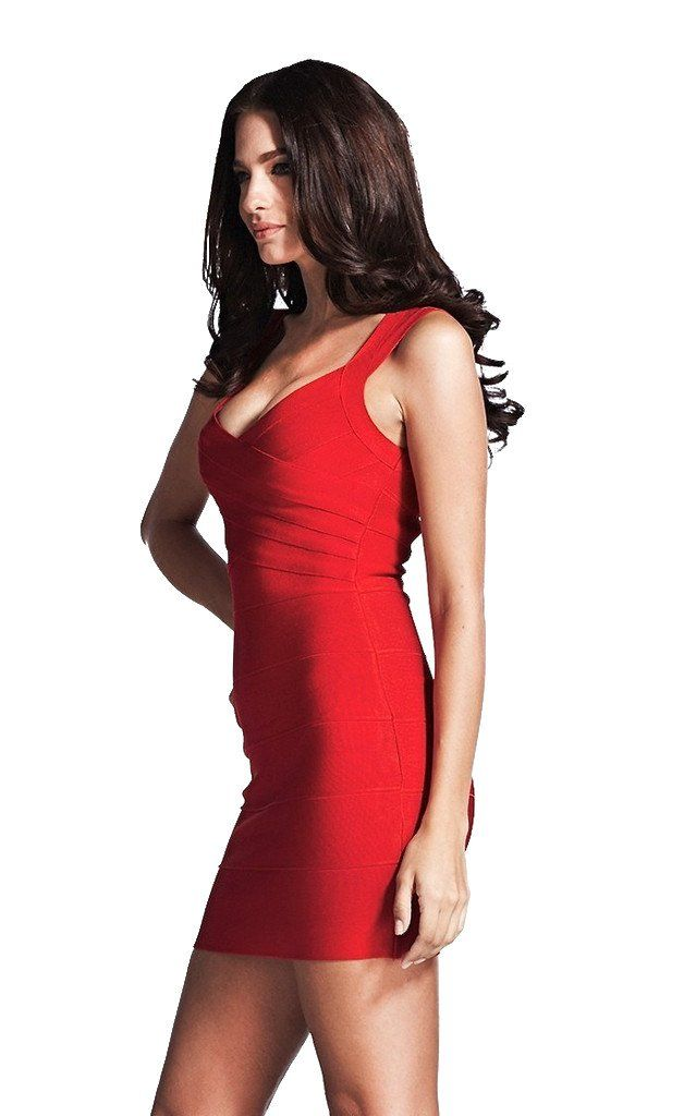 This Fiery Red Bandage Dress is so flirty!