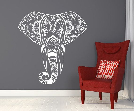 Elephant Wall Decal Mehndi Vinyl Stickers Yoga Decals Namaste Indian Decals  Home Decor Indie Boho Bedding Nursery Bedroom T162