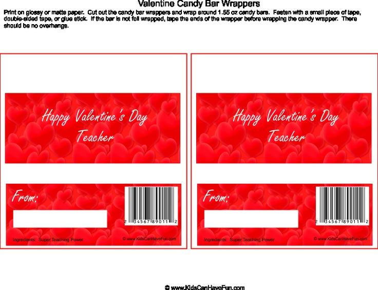 Valentine Candy Gram Template Wrapper 144 Best Valentines Day