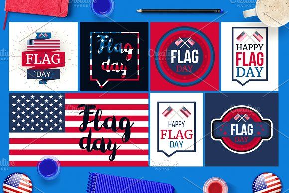 Flag Day Banners by barsrsind on @creativemarket