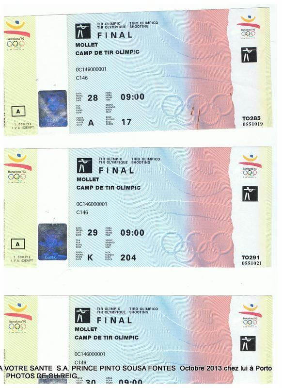 BILLETS D ENTREE JEUX OLYMPIQUES DE BARCELONE 1992 FINALE DE TIR