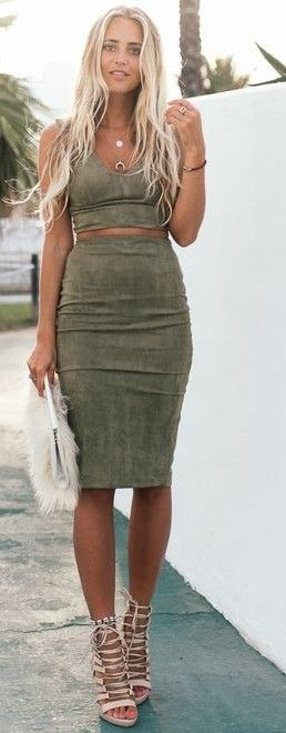 #summer #ultimate #outfits   Khaki Suede Set
