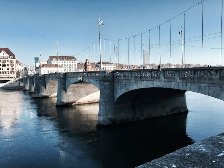 basel switzerland europe river rhine rhein view sunshine winter middle bridge mittlere brucke