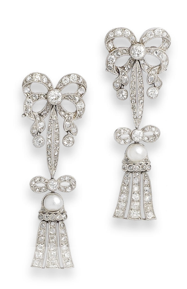 Find This Pin And More On Ribbons And Bows Jewels Pearl And Diamond  Earrings
