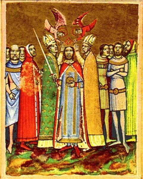 Ladislaus I's coronation  Képes Krónika (Chronicon Pictum) I. Magyar Helikon, Budapest, 1964, p 92 (f.43'b). National Széchényi Library, Budapest