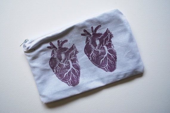 Block Printed Anatomy Heart Zipper Pouch // White and Lilac
